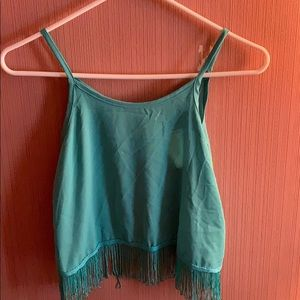Open back fringe top